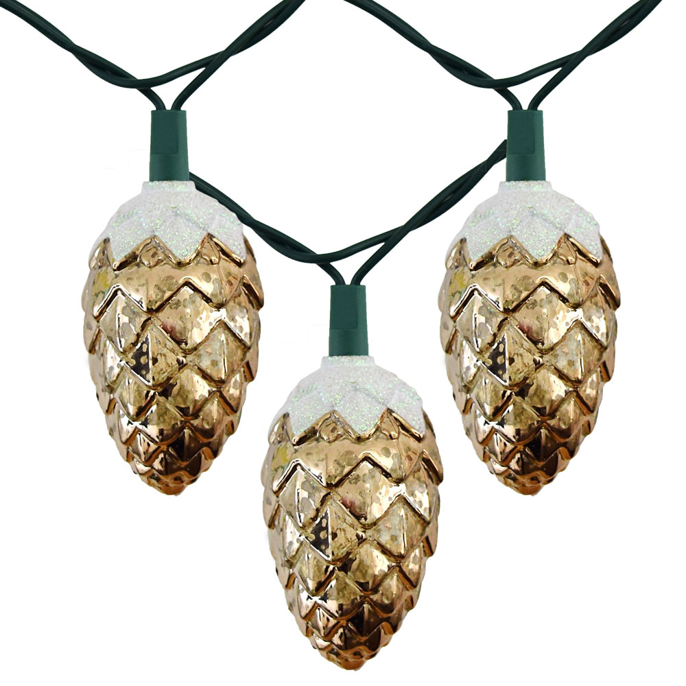 Pinecone w/ Snow Party String Lights - 10 Lights