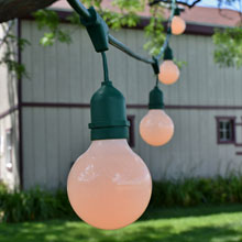 White Globe Patio String Light Kit - 48' Green Suspended
