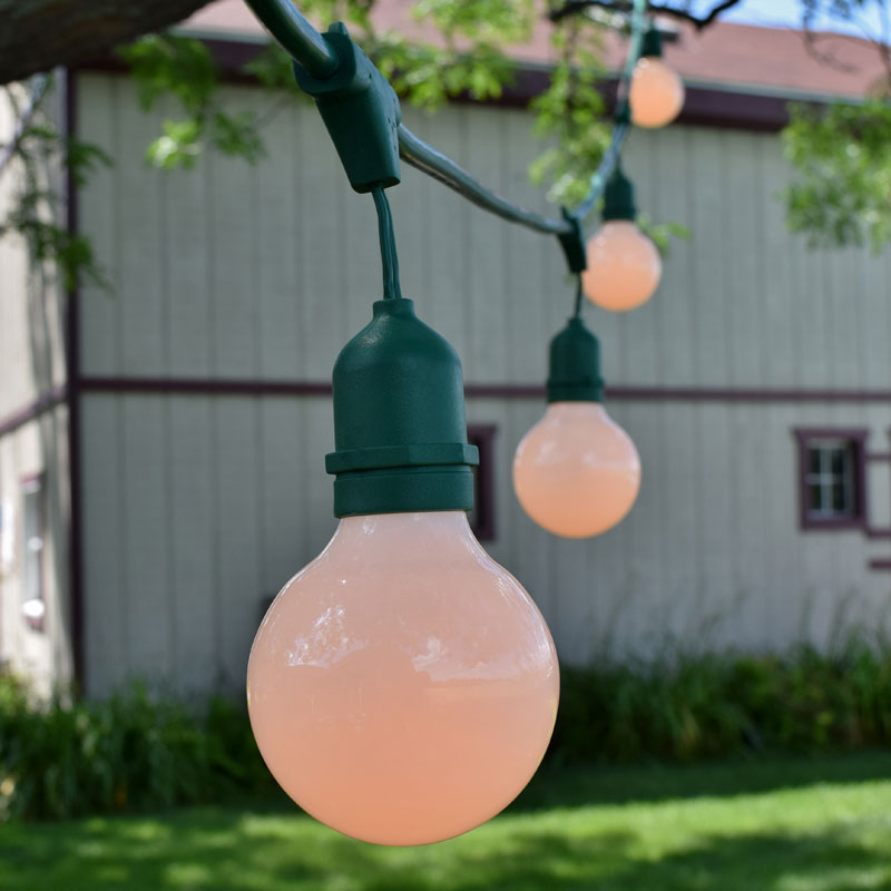 Globe String Lights Kit : 48 Commercial White Globe String Light Kit - Green Suspended