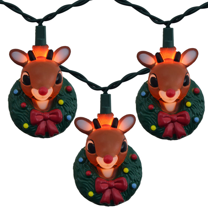 Unusual Christmas String Lights : Rudolf w/ Christmas Wreath Novelty Light Set