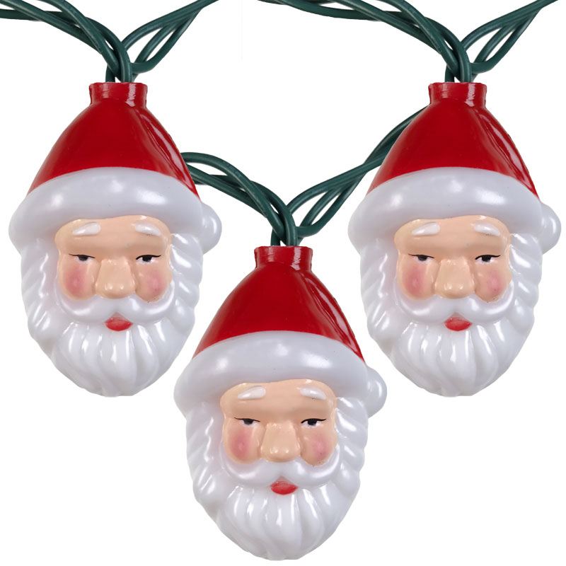 Christmas Novelty Lights · Santa Head Party String Lights   10 Lights