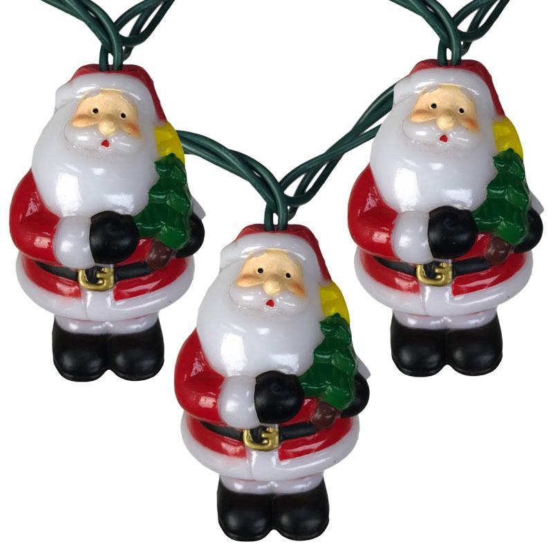 Santa Claus Holding Christmas Tree Novelty Lights