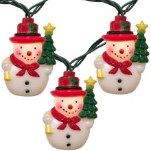 Santa claus holding christmas tree novelty lights snowman w tree party string lights aloadofball Images