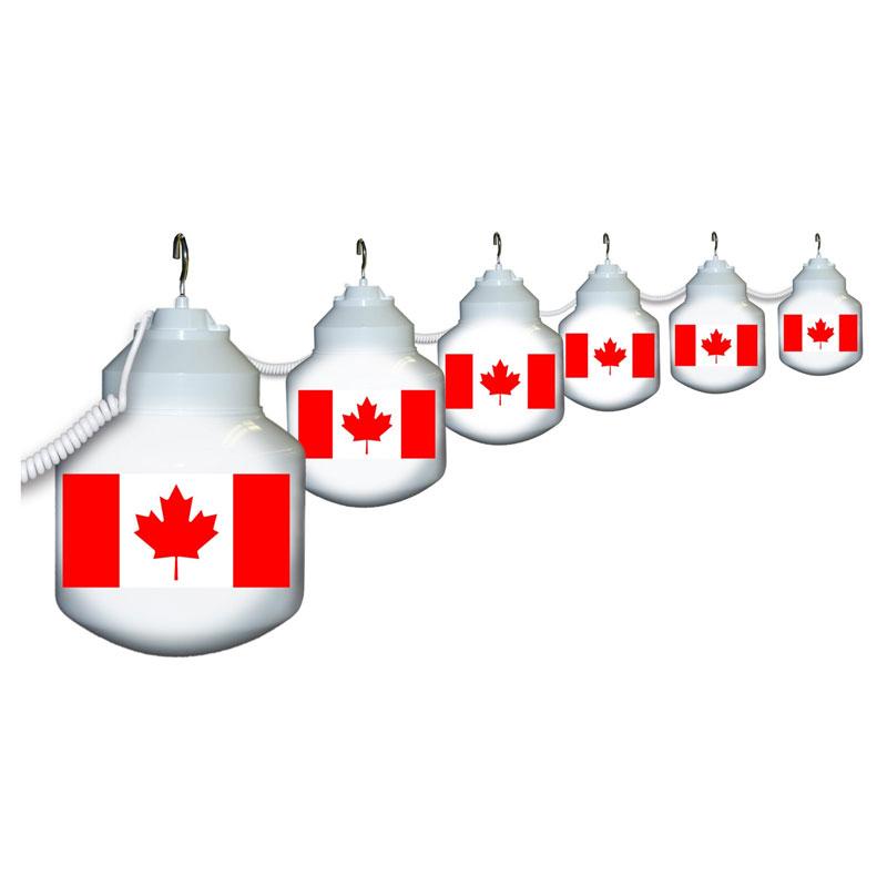 Patriotic Globe String Lights : Canadian Flag Six Globe String Light Set