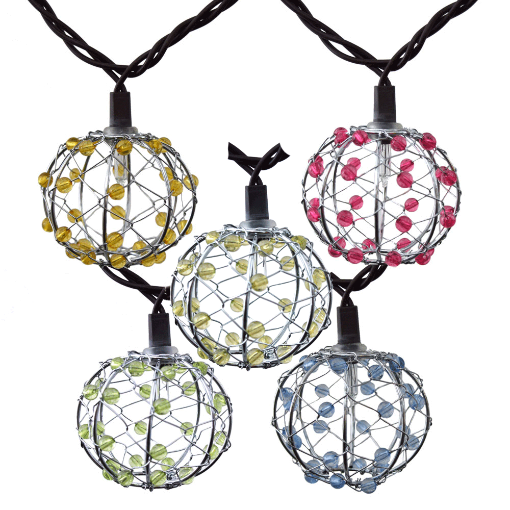 Beaded Wire Ball Patio String Lights