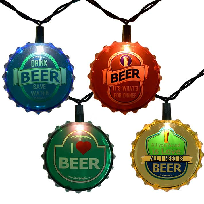 Beer Party String Lights : Beer Cap Party String Lights - 10 Lights