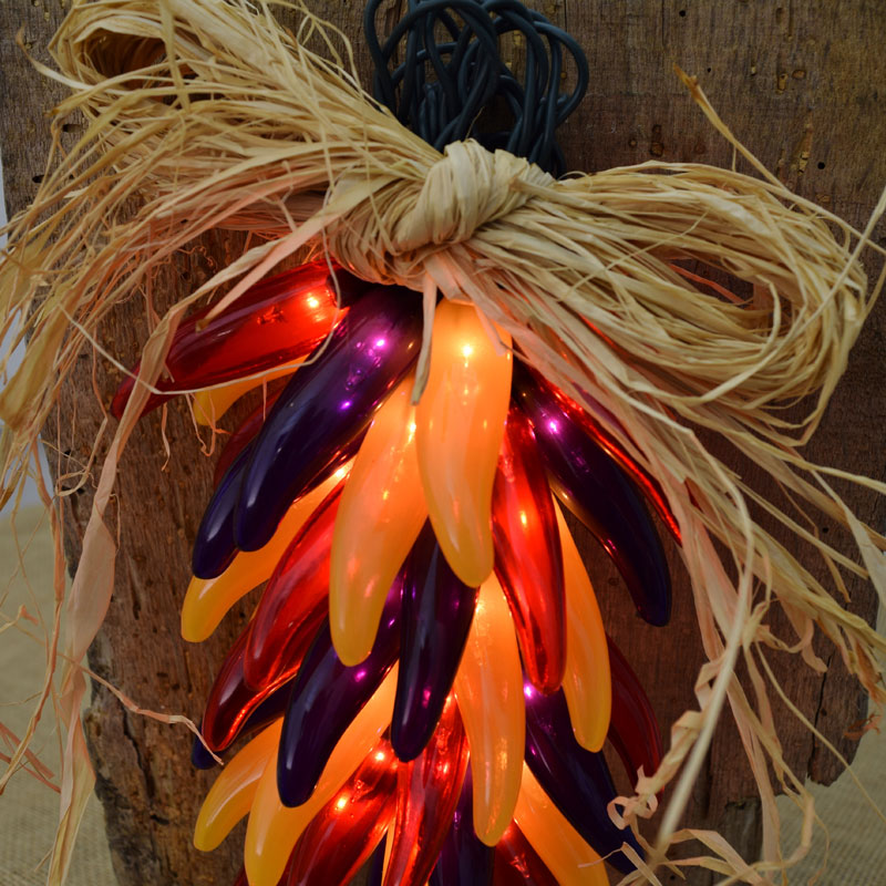 Red, Yellow & Purple Autumn Harvest Chili Pepper Ristra Lights