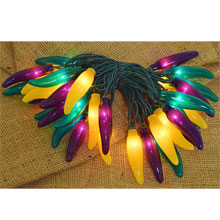 Green Yellow Purple Chili Pepper String Lights