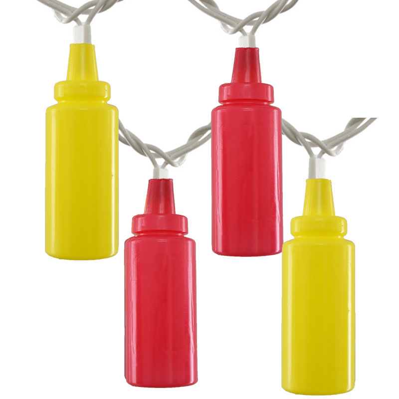 ketchup and mustard party string lights, condiment novelty lights