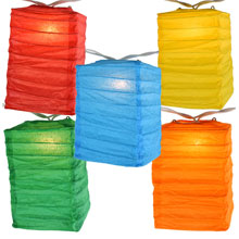 Box Shaped Multi-Color Paper String Light Lanterns