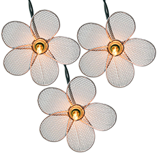 Wire Mesh White Flower Party String Lights