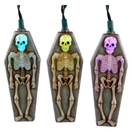 Skeleton & Tombstone Halloween Multi-Color Changing LED Party String Lights - LED String Light Strands & Sets