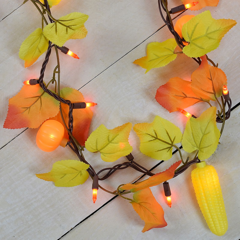 Maple Leaf, Corn, Pumpkin Party String Lights - Garland Style