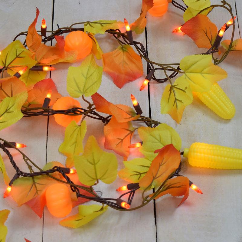 Maple Leaf, Corn, Pumpkin Party String Lights - Garland Style