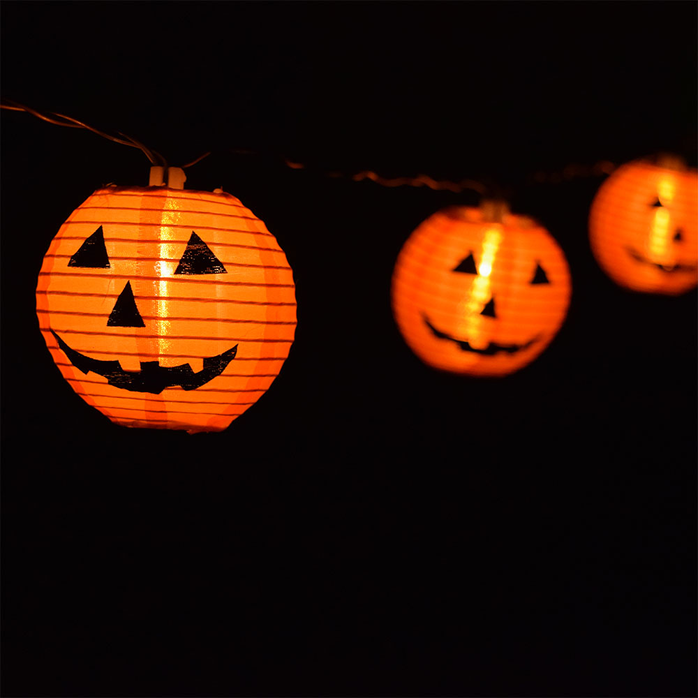 Pumpkin Nylon Lantern String Lights Set