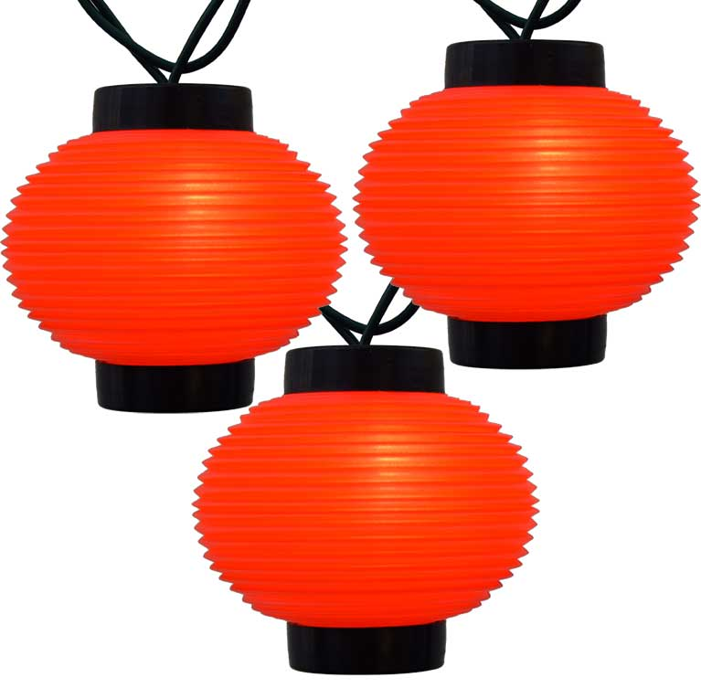 Red Lantern Party String Lights - 10 Lights UL1721