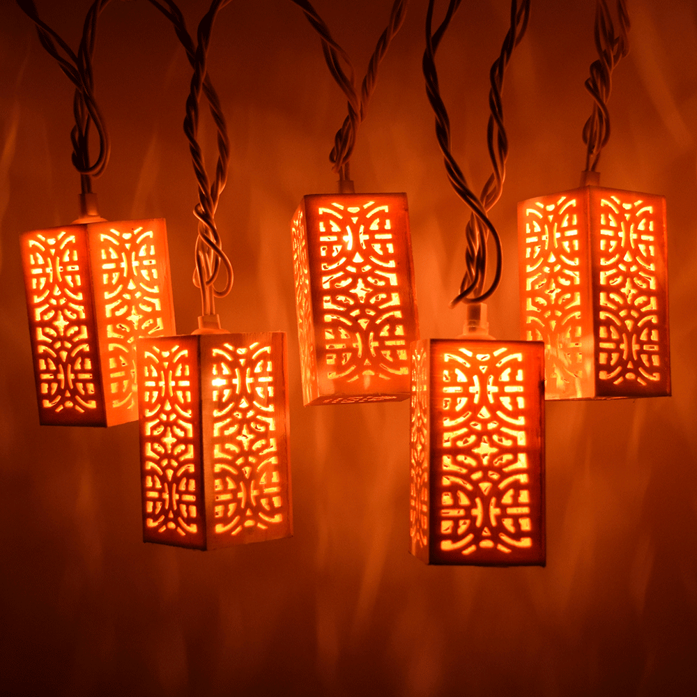 Wood Patterned Party String Lights