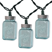 Blue Mason Jar Party String Lights