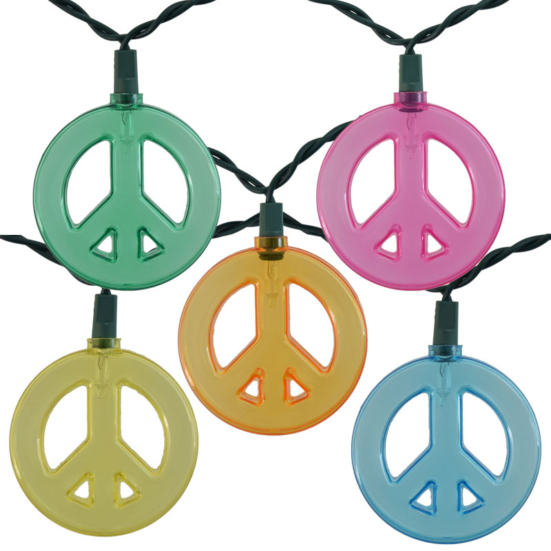 Multi-Color Peace Sign Party String Lights