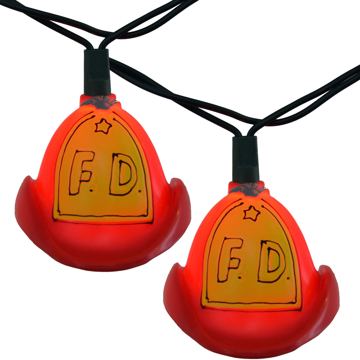 Red Fire Department Hat Party String Lights