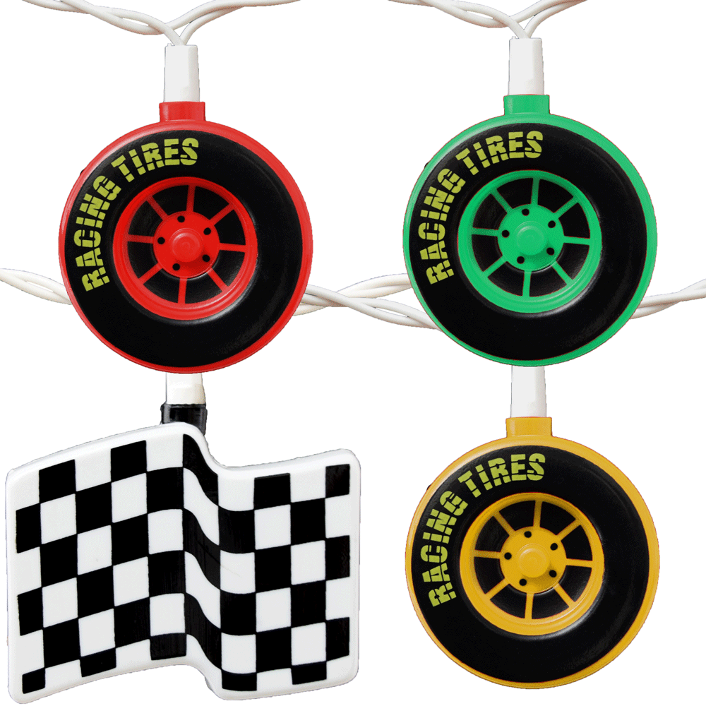 Racing Tires & Checkered Flags Party String Lights
