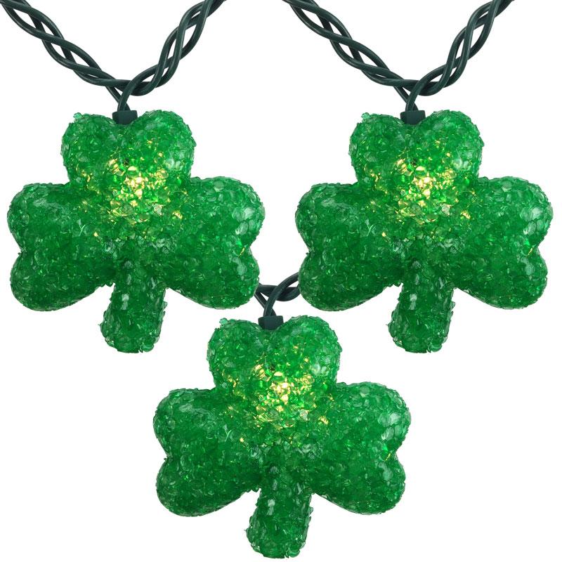 Green Shamrock St. Patrick's Day String Lights - Shamrock Party String Lights - 10 Lights
