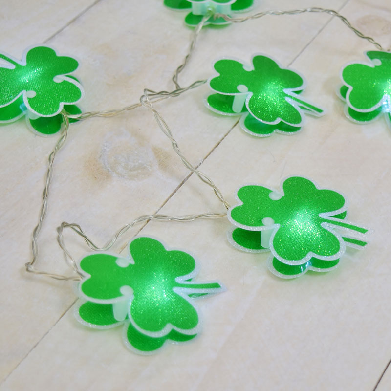 These Shamrock party string lights will bring good luck and will display your Irish pride anywhere around your home.