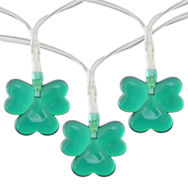20 LED Mini Battery Operated Shamrock String Lights