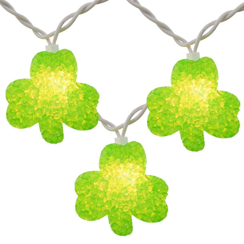 green shamrock shaped party string lights