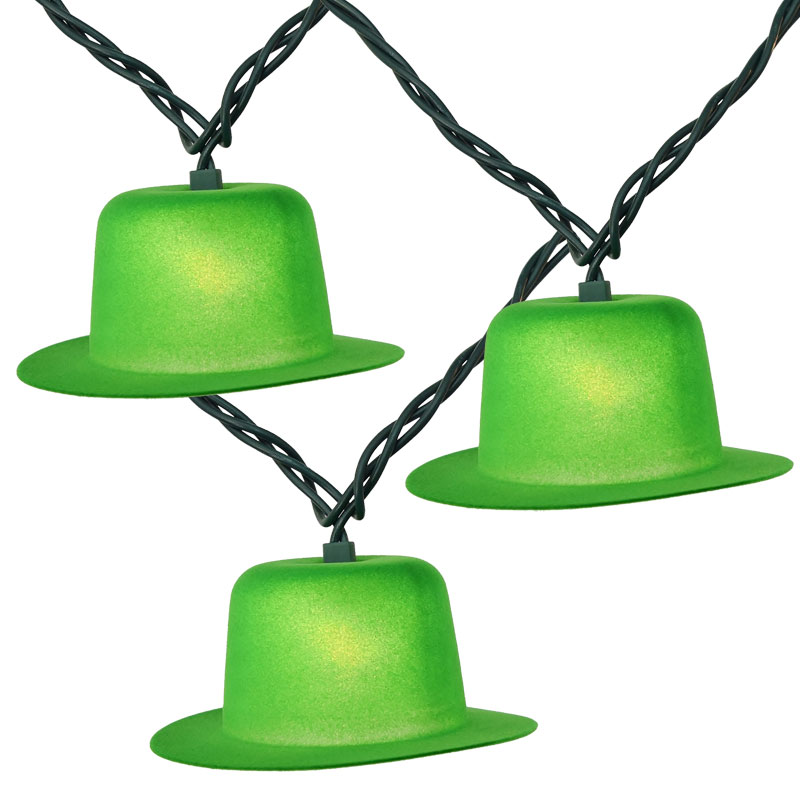 Green Derby Hat Party String Lights - 10 Lights