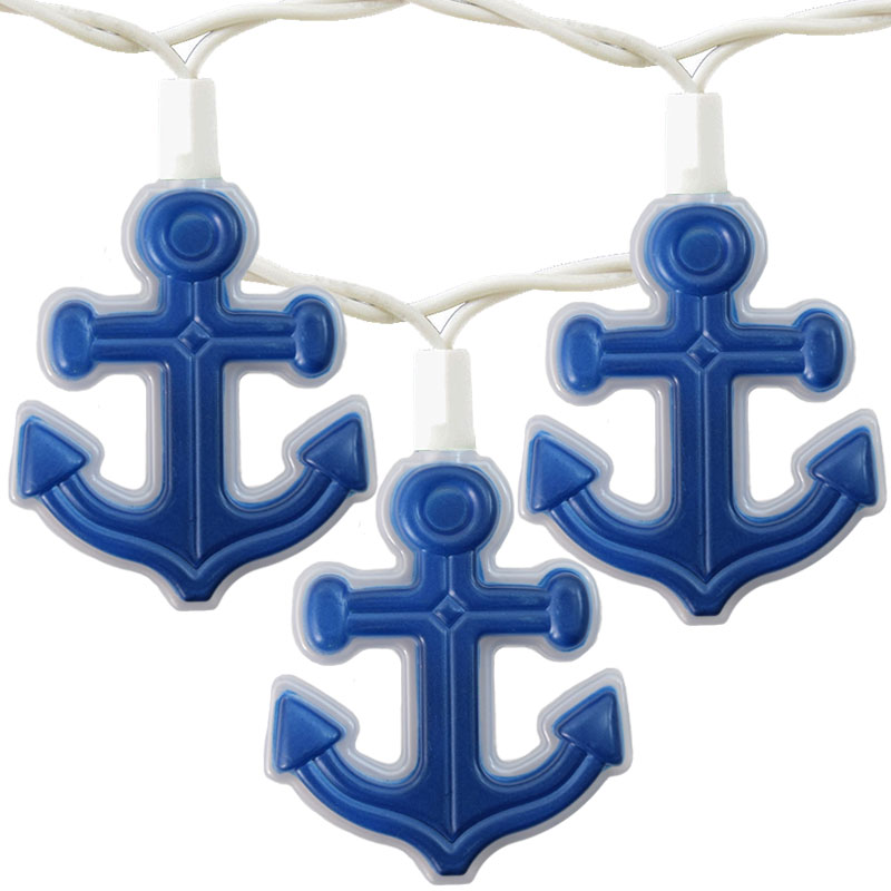 Blue Nautical String Lights : Nautical Anchor Novelty Lights