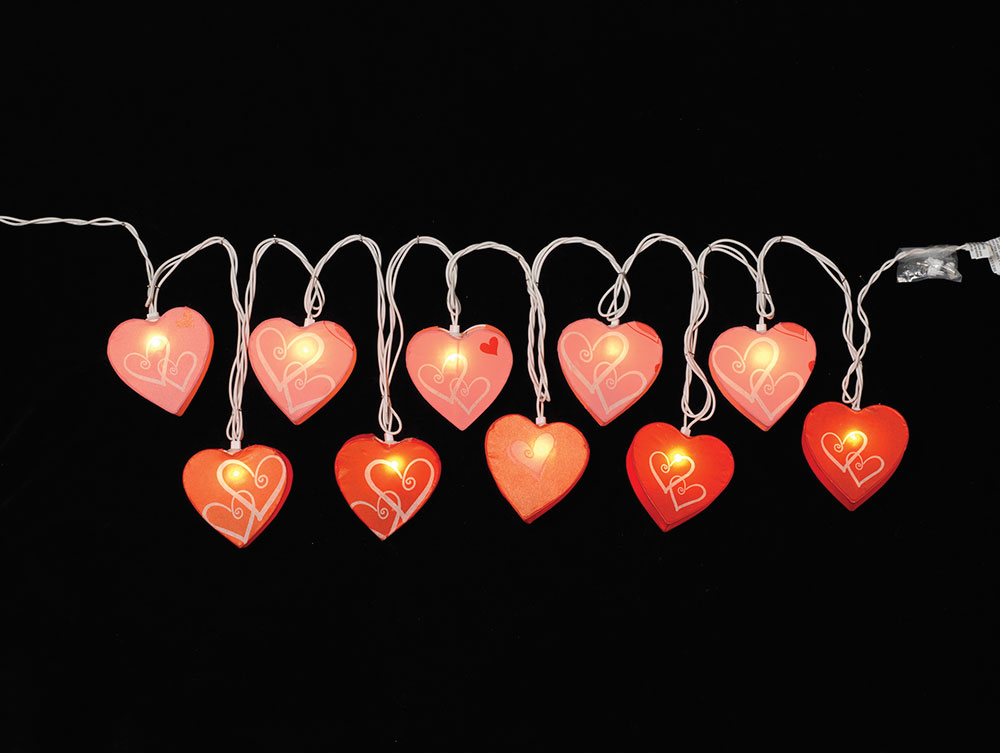 Paper Heart Shaped Party String Lights - Red & Pink