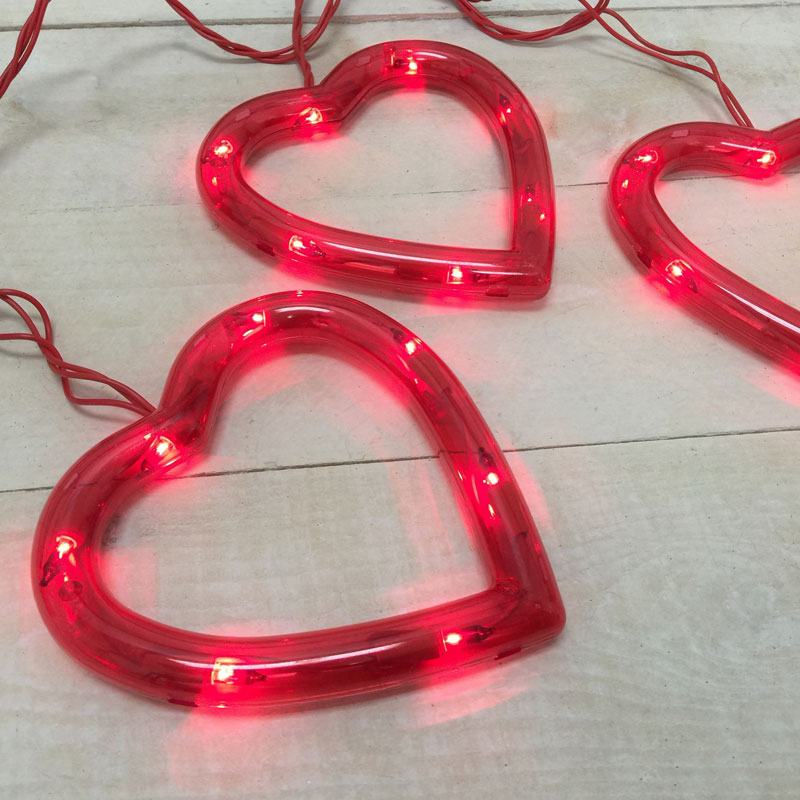 heart sculpture party string light set set of 3 hearts valentines day light set - Valentine String Lights