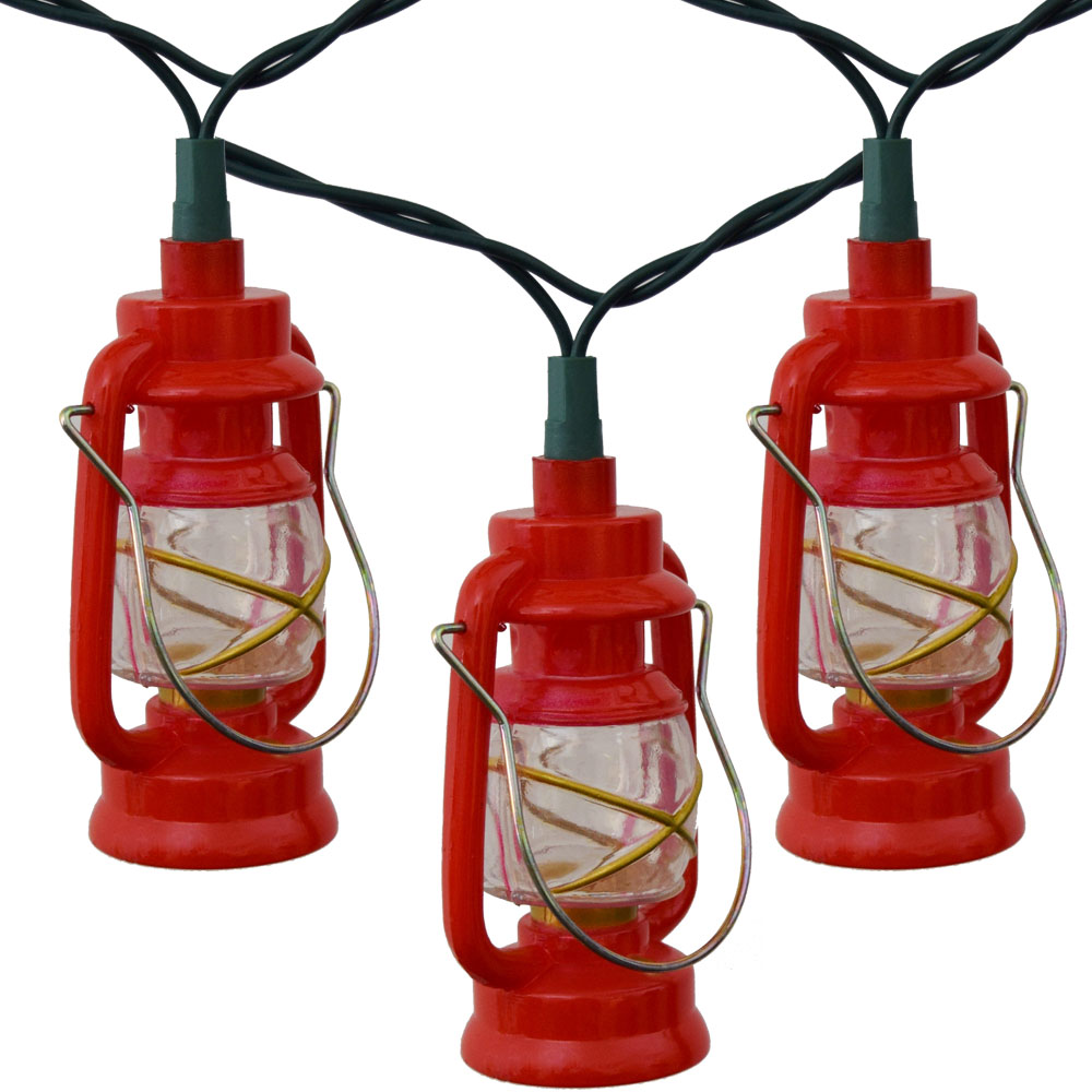String Of Lantern Lights : Red Prospector Lantern Party String Lights
