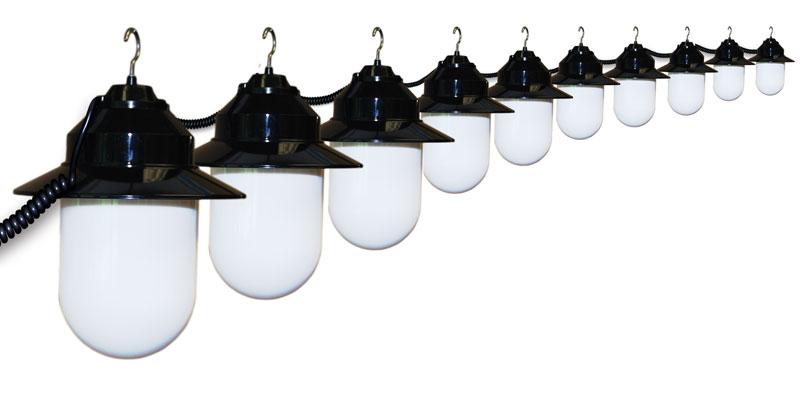 10 Globe White Savannah String Lights - Black Housing