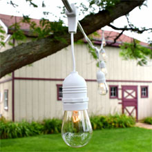 Patio String Lights - Commercial Grade 54' Supsended - White