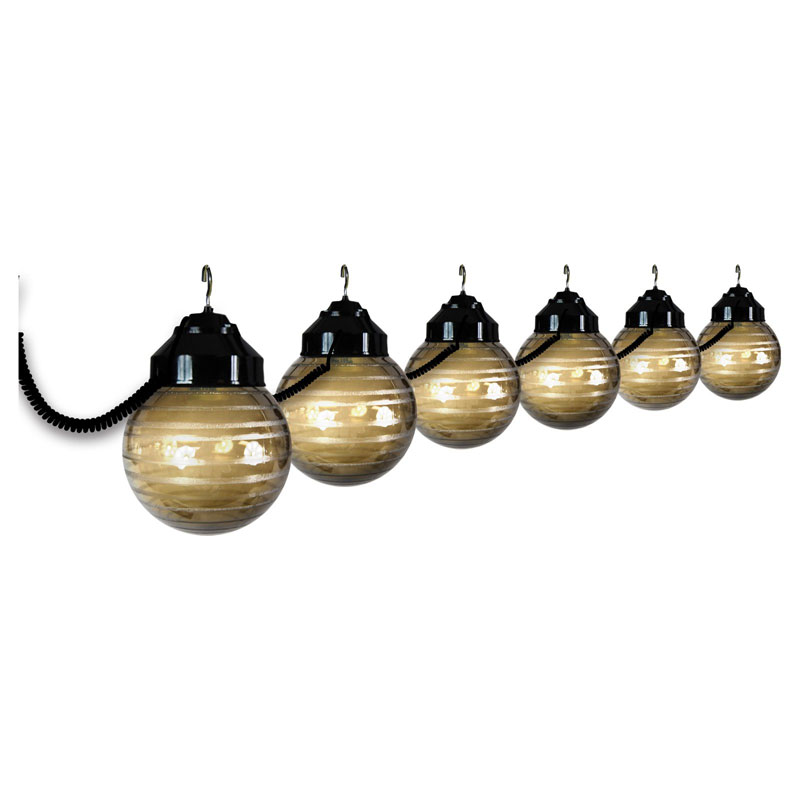 10 Globe Bronze String Light Set - Black Housing
