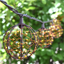 Brown Wire & Bead Sphere String Lights