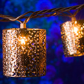 Copper Metal Lantern Party String Lights - 10 Lights - GC2201110