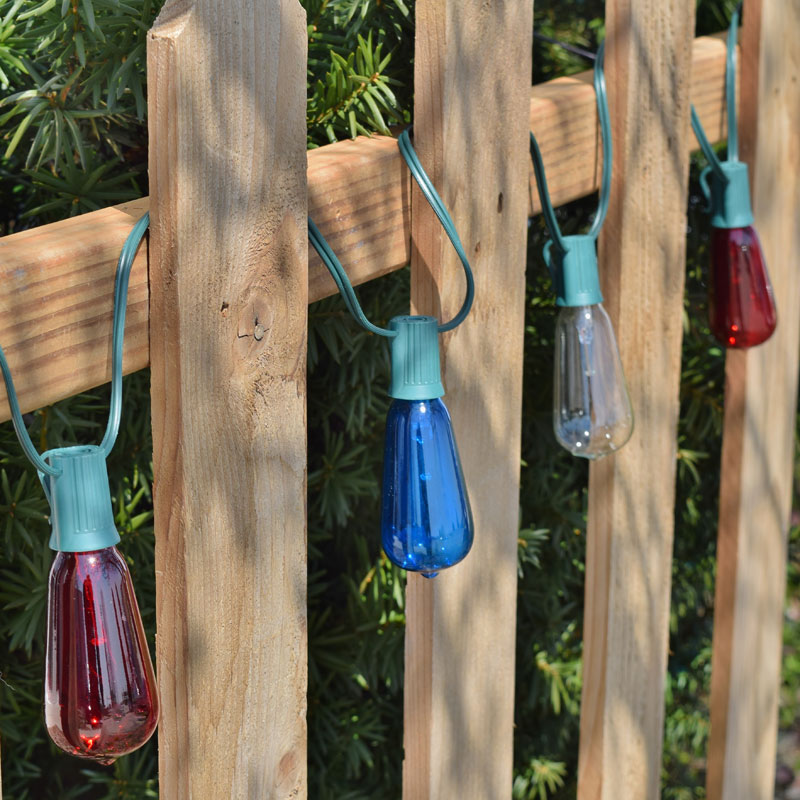 Patriotic String Lights Outdoor : Patriotic Red, White and Blue Glass ST40 Vintage Light Set