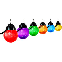"Multi-Color 6"" Globe Festival String Lights - Black"