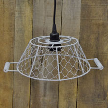 Small Cream Basket Wire Lamp Shade w/ Black Socket