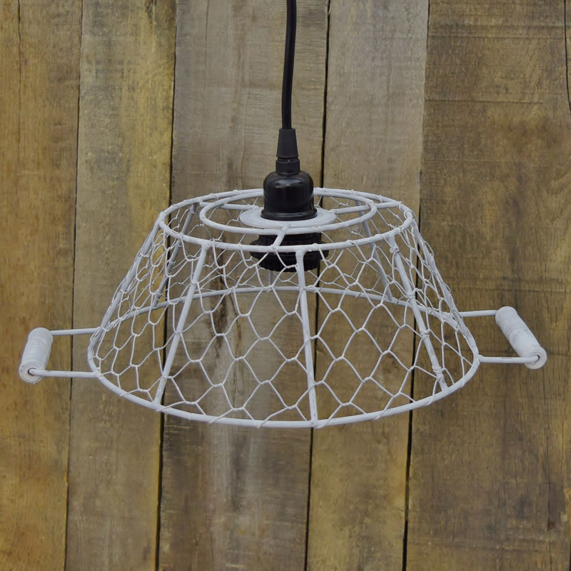 White wire egg basket pendant light small white metal lamp shade w socket aloadofball Gallery