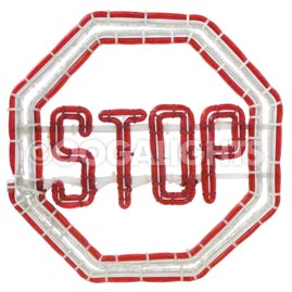"16.5"" x 16.5"" Red & White Stop Sign Ropelight Motif"