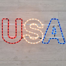 "25"" x 10"" USA Patriotic Rope Light Motif"