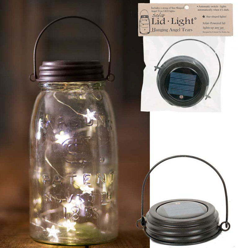 Brown Hanging Solar Lid Light - Star Shaped Angel Tear Lights