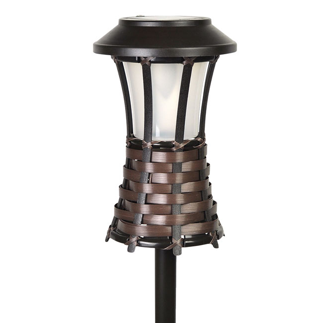 Brown Woven Solar Powered LED Tiki Torch