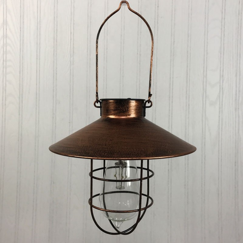 Solar Powered Hanging Lantern Copper Finish