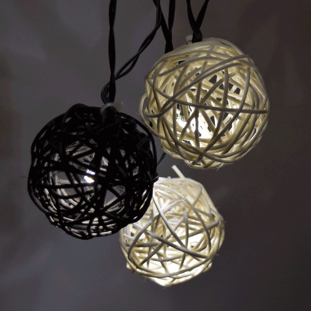 Twig rattan ball solar powered string lights