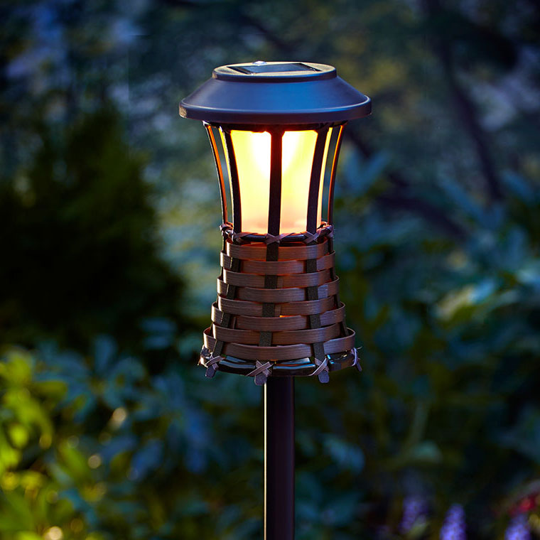 Brown woven party torch light solar powered led workwithnaturefo